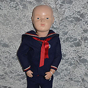 Antique Doll Wood Carved Schoenhut Jointed Character Large Doll Sailor Boy