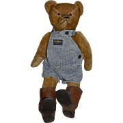 Old Teddy Bear Jointed Mohair LARGE  Glass Eyes