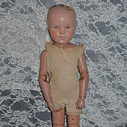 Antique Doll Schoenhut Wood Carved Jointed W/ Union Suit Large
