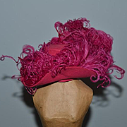 Vintage Doll Hat Fashion Doll Fancy Feathers Pink