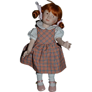 Vintage Doll Artist Doll Signed Porcelain Jointed Red Head Heather Maciak
