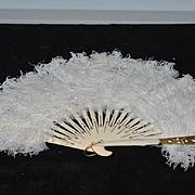 Vintage Doll Fancy Feather & Rhinestone Miniature Fan