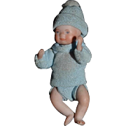 Vintage Doll All Bisque Miniature Baby Artist Doll Dollhouse Jointed