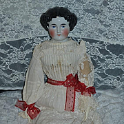"Antique Doll China Head Center Part 28"" Tall Gorgeous Big Beauty"