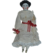 """Antique Doll China Head Center Part 28"""" Tall Gorgeous Big Beauty"""