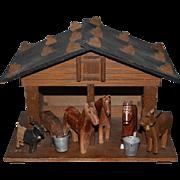 Old Doll Wood Miniature Farm House W/ Animals Barn Carved Dollhouse Franz Carl Weber W/ Tag