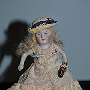 Antique Doll Miniature All Bisque Dollhouse Fancy Dress W/ her Miniature Doll
