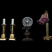 Miniature Doll Artist Lamps Candle Sticks Dollhouse Fancy Lights Set