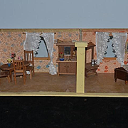 Old Doll Two Room Diorama Dollhouse Room Box W/ Miniature Furniture and Bisque Doll Glass Windows