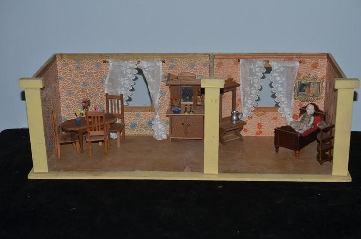 Miniature Children S Bedroom Room Box Diorama: Old Doll Two Room Diorama Dollhouse Room Box W/ Miniature