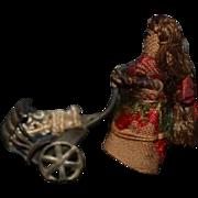Old Unusual Miniature Doll W/ Metal Pram Baby Carriage Cloth Doll TINY Dollhouse
