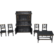 Wonderful Doll Miniature Black Painted Gold Trim Dollhouse Furniture Wood Table Chairs China Cabinet