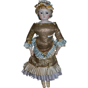 Antique French Bisque Poupee W/ Swivel Head Kind Leather Poupee Gorgeous Closed Mouth Fashion Doll