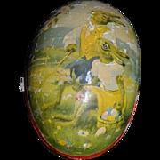 Antique Doll Inside Papier Mache Rabbit Egg All Bisque Dollhouse Miniature