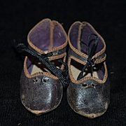 Old Doll Leather Marked French Jumeau Bebe Depose Shoes sweet for your Doll!