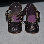 Antique Doll Leather French Shoes SWEET Fancy Modes De Paris Marked