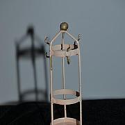 Old Doll Miniature Tin Metal Coat & Hat Rack W/ Umbrella Stand Dollhouse