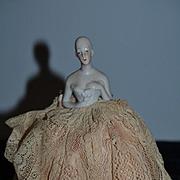 Beautiful Old Doll Half Doll China Head Pincushion Pin Cushion Solid Dome