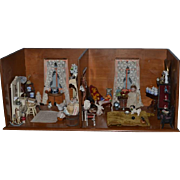 Antique Doll Miniature Biedermeier Roombox Dollhouse Fancy PACKED Cherry Wood FAB W/ Bisque Dolls Furniture & Misc