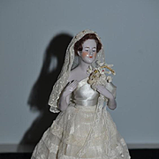 Old Doll Lady Half Doll China Head Pink Tint Gorgeous Arms away Candy Box Container Bride
