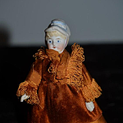 Old Doll Bisque Molded Bonnet Fancy Clothes Jointed Miniature Dollhouse