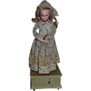 Antique Doll Bisque  Automaton Wind up Musical Moving Doll French Market Mechanical
