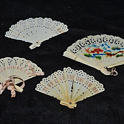Old Doll Miniature Fan set Celluloid For Fashion Doll Four Miniature Fans