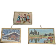 Old Doll Miniature Pictures Dollhouse Frames W/ Glass Wonderful