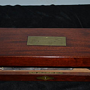 Antique Wood Mahogany Surgical Rare  Engraved W/ Tools including Rare Surgical GIGLI 1800's Civil War Era