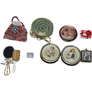 Old Doll Miniature Vanity Purse Mirror Frames Tin boxes W/ Children Pearl Hat French Fashion Accessories