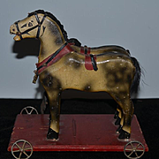 Antique Wood Carved Horse Double Horse on Wheels Pull Toy For Doll Child S.A.Smith MFG. Co. BRATTLEBORO VT.