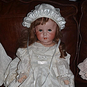 """Antique Doll French Bisque S.F.B.J. 247 TWIRP 26"""" Toddler WOW In English Outfit"""