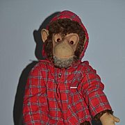 Old Doll Vintage Stuffed Mohair Monkey Jointed ADORABLE Cloth Doll