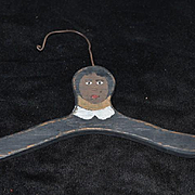 Old Doll Wood Clothes Hanger Topsy Turvy Black Doll White Doll Painted Hanger
