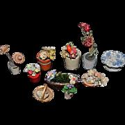 Old Doll Miniature Flower Set Flower Pots Dollhouse Baskets Planters Dollhouse Lot