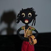 Old Doll Black Golliwog Cloth Doll Miniature Unusual Felt Doll