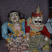 Antique Doll Wood Puppet Marionette Carved Ornate Large Jointed Enamel Eyes Set Pair