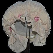 Wonderful Doll Hat French Doll Petits Chapeaux Lace Gorgeous Bonnet