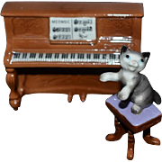 Vintage Dollhouse Doll Toy Porcelain Cat Playing Miniature Piano Figurine