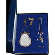 Vintage Doll Artist Miniature Purse Chatelaine Earrings Necklace in Ornate Box For French Fashion