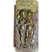 Old Doll Miniature Box Bronze Brass Cherubs Trinket Box for Fashion Doll WONDERFUL Vanity Hinged Box