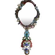 Antique Doll Miniature Cloisonne & Brass Ornate Mirror French Fashion Accessory