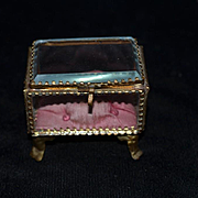 Antique Glass Casket Trinket Box Hinged Miniature Ornate Beveled Glass
