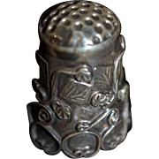 Old Sterling Silver Ornate Thimble Sewing Item