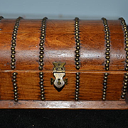 Old Doll Miniature Trunk French Fashion Wood & Metal Hump Back GORGEOUS Treasure Chest