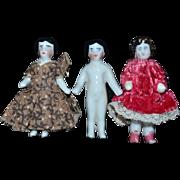 Antique Doll Set Miniature Dollhouse Frozen Charlotte Dolls Set of Three
