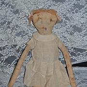 Wonderful Old Character Cloth Doll Big Side Glancing Eyes Rag Doll