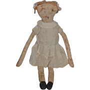 Wonderful Old Character Cloth Doll Big Side Glancing Eyes Rag Doll