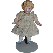 Antique Doll  All Bisque Miniature Cabinet Size Dollhouse Dressed German