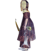 Old Doll Paper Doll Stuffed Girl with Candle Unusual Old Writing